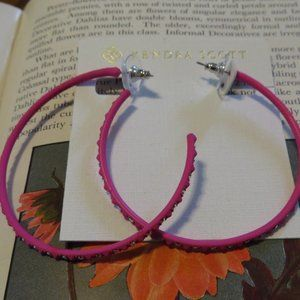 Kendra Scott Val Hoop Earrings Magenta Pink New